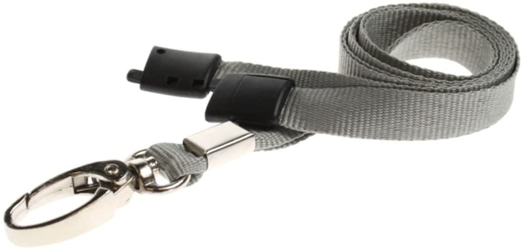 ID Card It ID Badge Holder Grey Neck Strap Safety Breakaway Lanyard with Solid Metal Lobster Clip - 1
