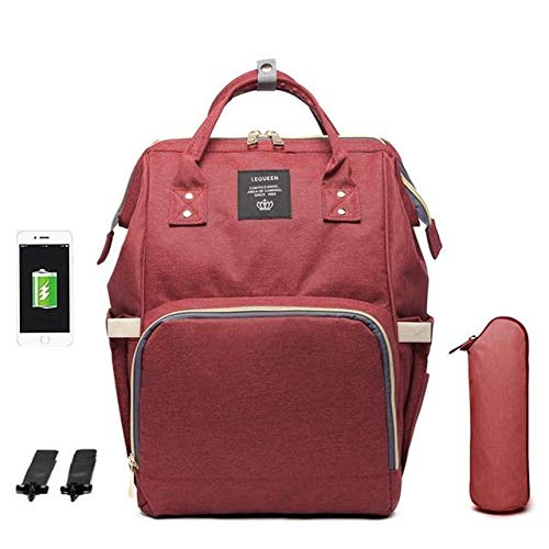 Large Diaper Bag with USB Charger (Rose)