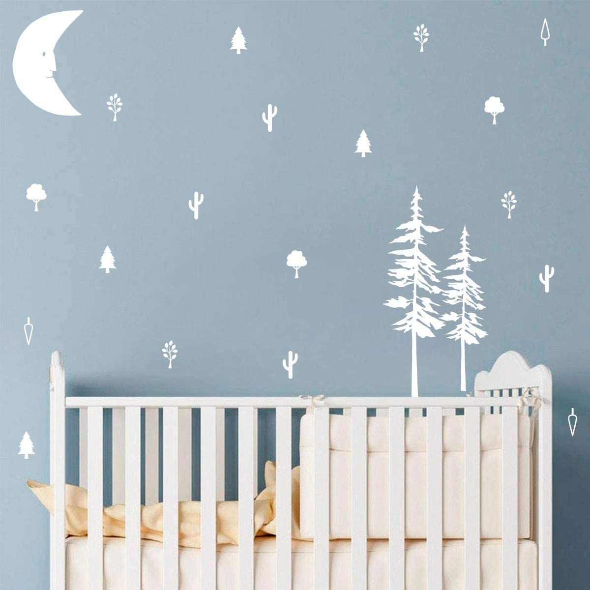 Makeyes Makeyes Moon Forest Wall Stickers Little Pine Trees Wall Decal Set Pattern Kids Bedroom Wall Decor Sleeping Room Vinyl Easy Peel Stick DIY Decoration MG004 (White)