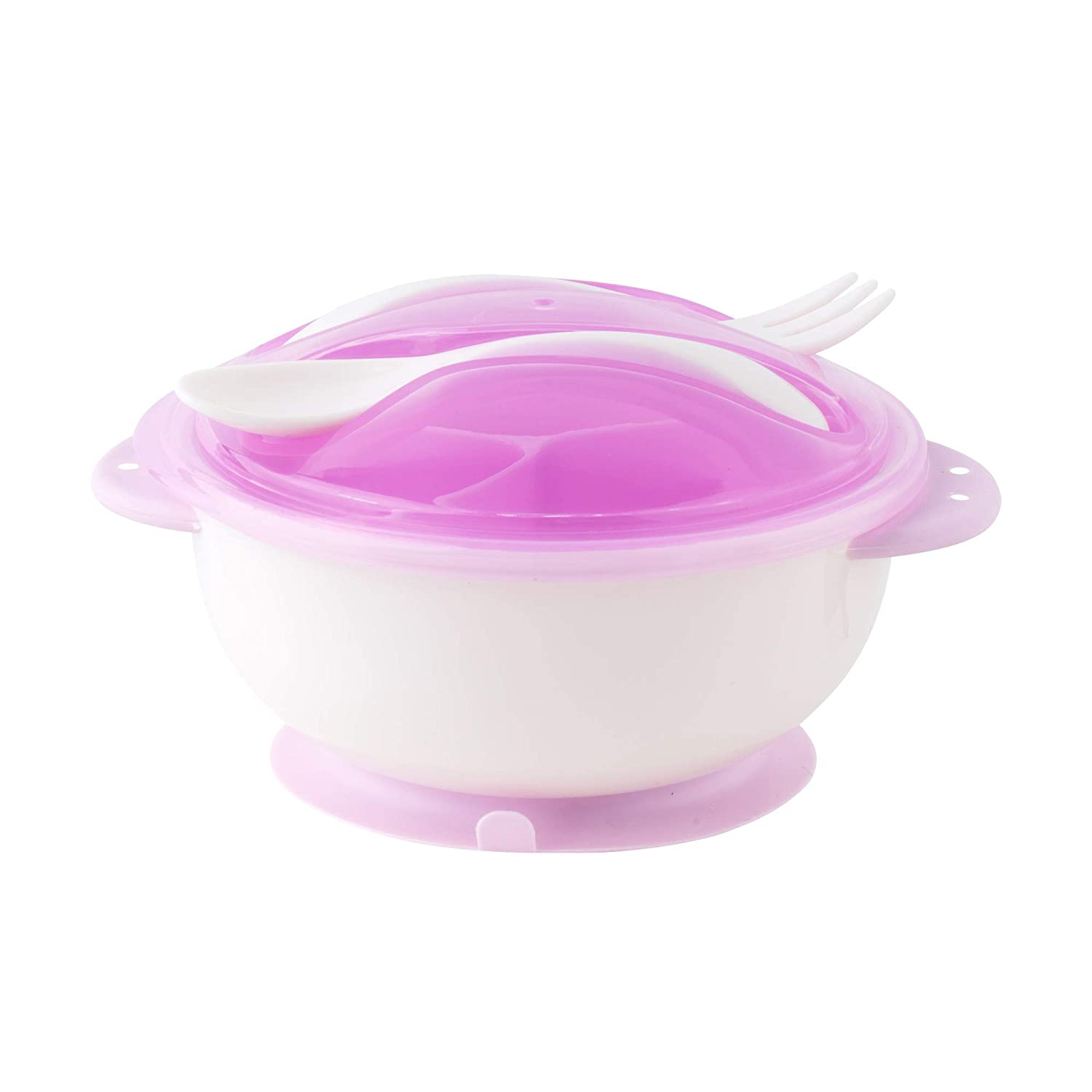 Table-Tot Training Bowl-Safe Feeding Bowl by Juliaire (Purple Bowl with Fork/Spoon Set)