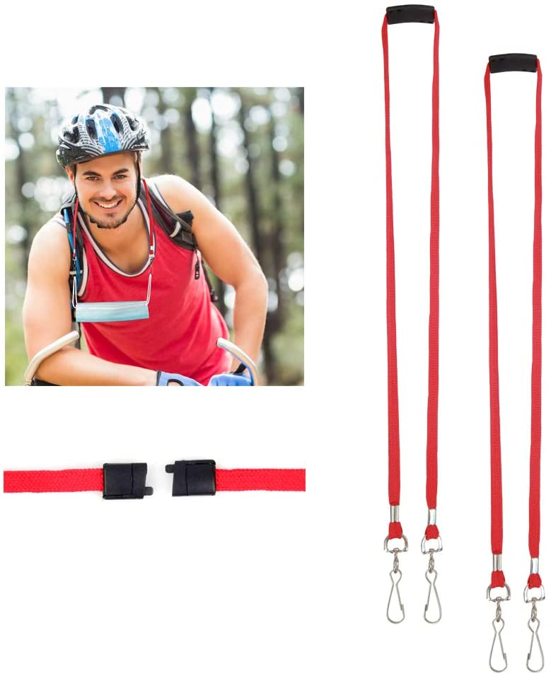 Face Mask Lanyards for Kids and Adults, Face Cover Chain Strap Lanyard Holder,2 Pack Breakaway Lanyard with Safety Breakaway Clasp,Saver Holder Clips for Children and Adults. (Red)