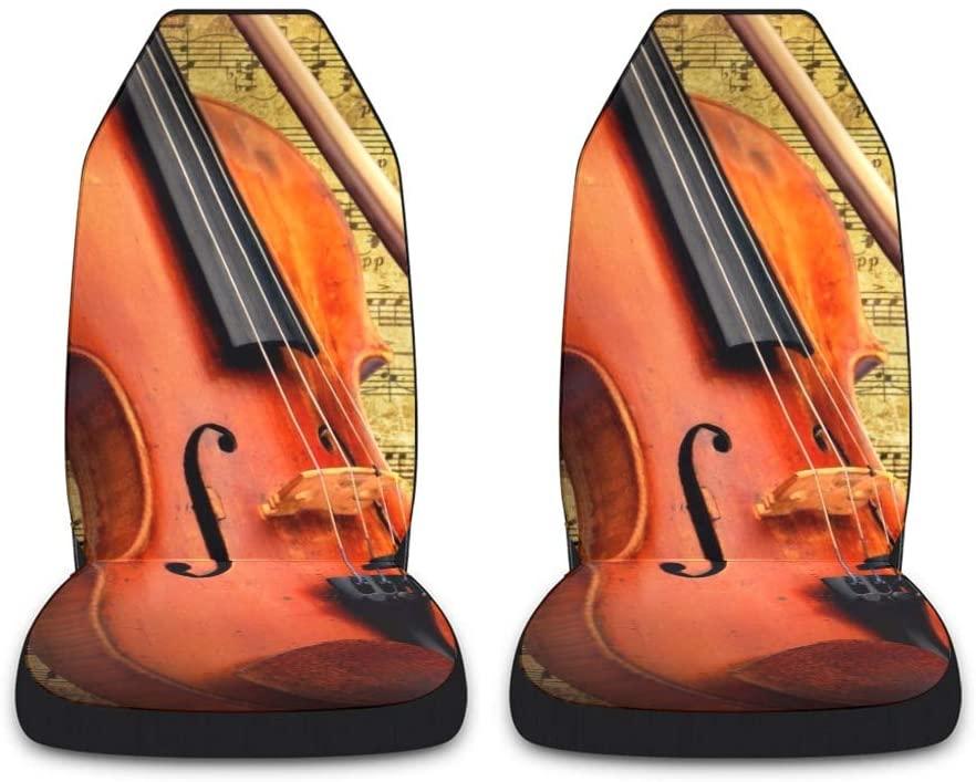 CUXWEOT Retro Musical Violin Car Seat Covers for Front Set of 2 Vehicle Seat Protector Car Pet Mat Fit Most Car,Truck,SUV,Van