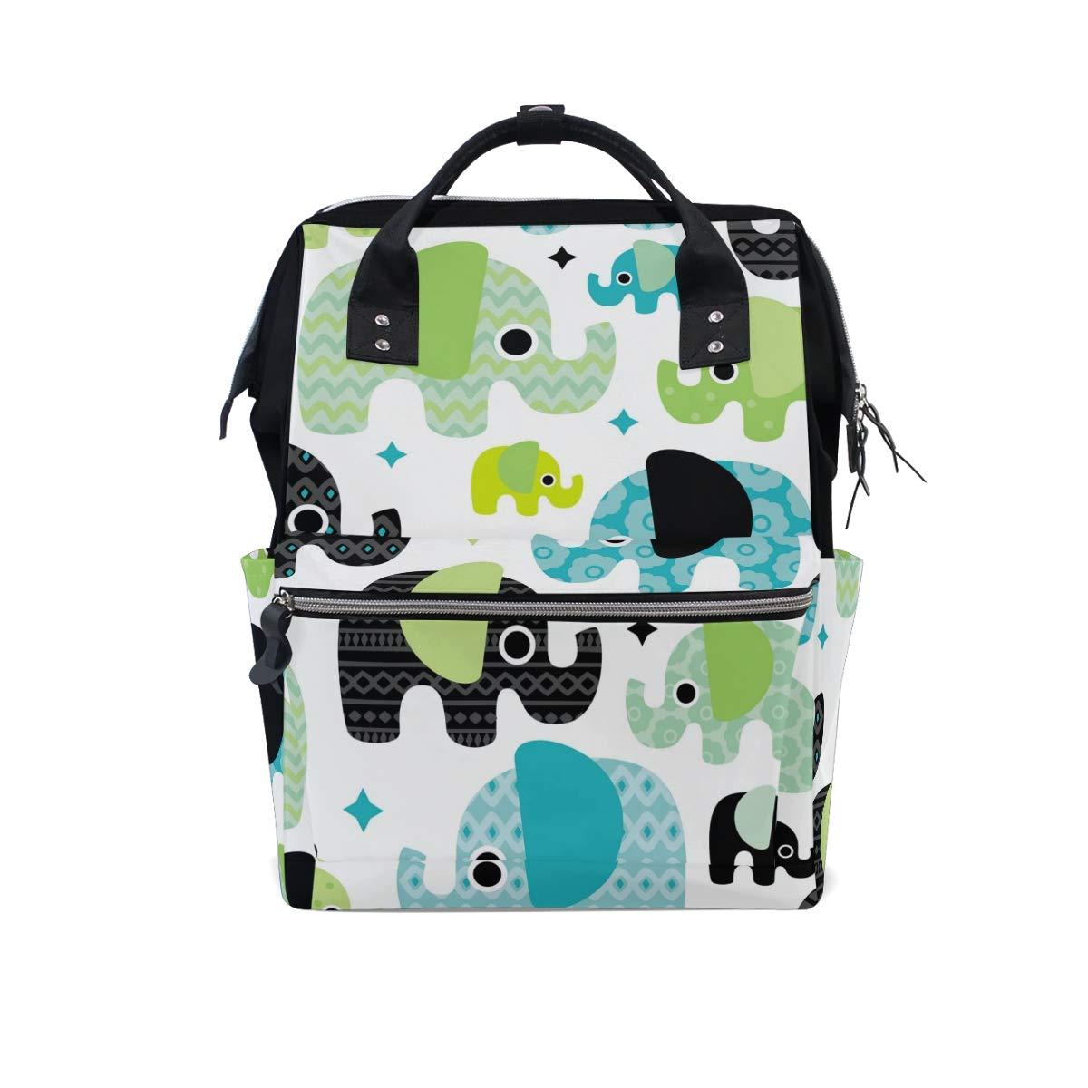 MERRYSUGAR Diaper Bag Backpack Cute Cartoon Elephant Flower Multifunction Travel Bag