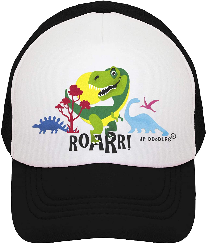 JP DOoDLES T-Rex Dinosaur Hat Kids Trucker Hat. Baseball Mesh Back Cap fits Baby, Toddler and Youth