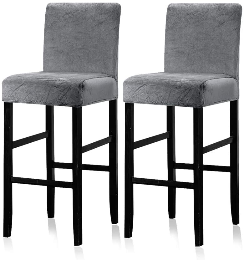 Lellen 2 Pack - Counter Stool Pub Chair Covers Slipcover Velvet Stretch Removable Washable Dining Chair Covers (Charcoal Grey)