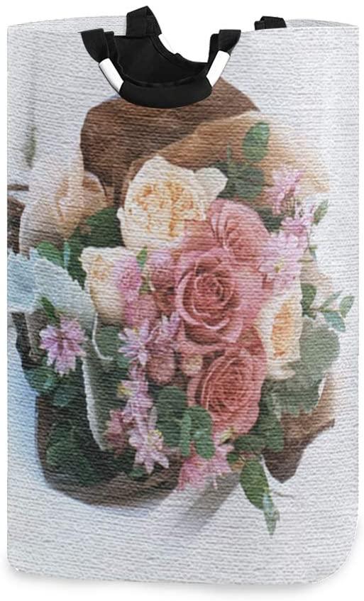 senya Flowers Large Home Organizer Bin, Storage Bags, Clothes Hamper, Foldable Laundry Basket for Bedroom, Bathroom, Baby Nursery, Toy Organizer(a)