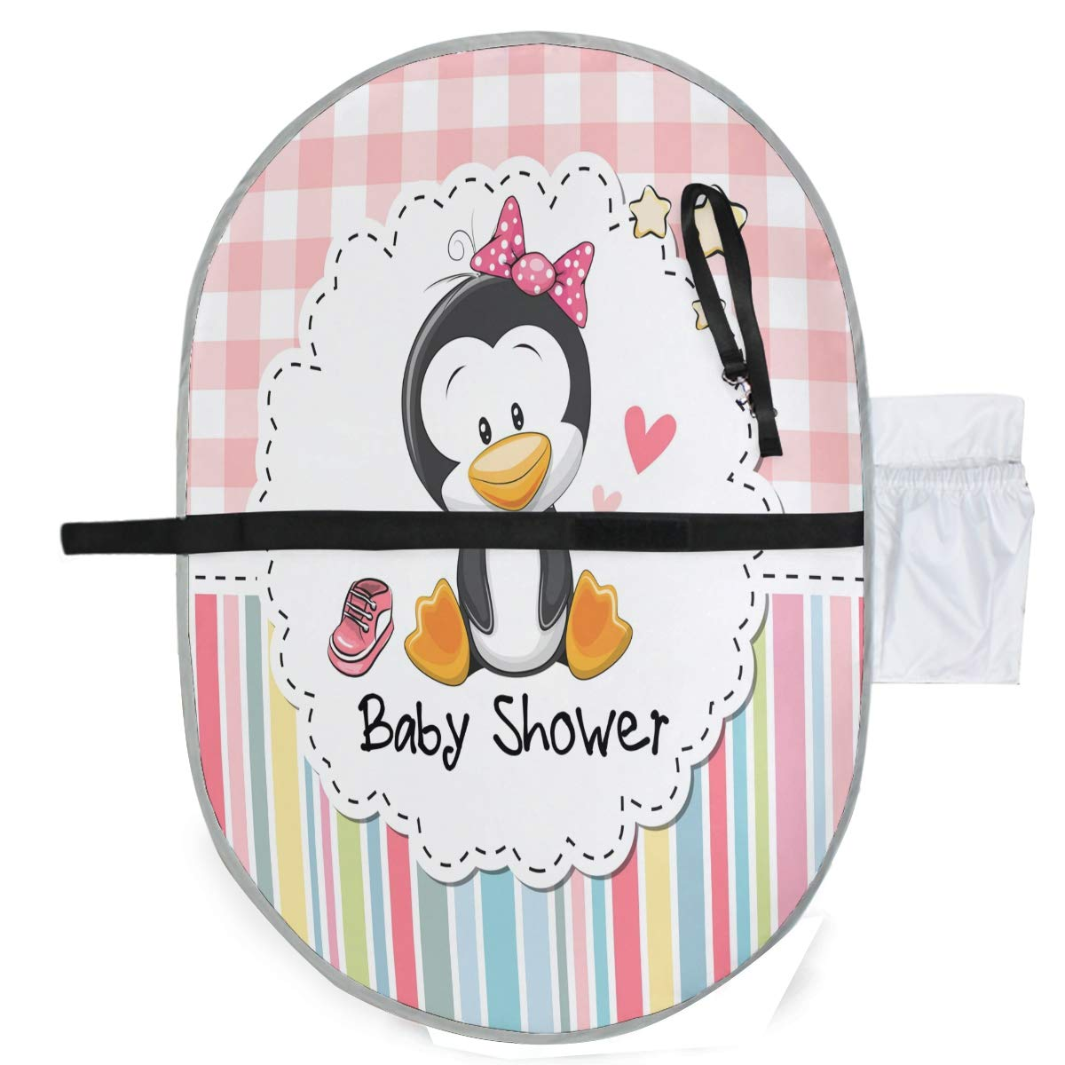 ZZXXB Penguin Shower Baby Portable Changing Pad Waterproof Diaper Change Mat Large for Infant Quick Change