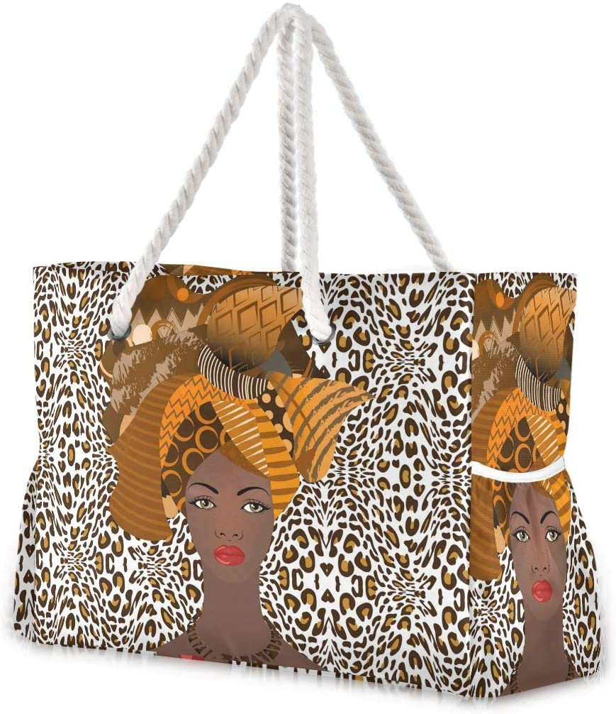 ALAZA African American Woman Leopard Large Beach Bag For Women Tote Bags Reusable Grocery Shoulder Bag with Zipper Pocket