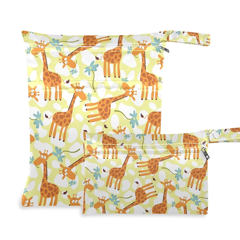 Qilmy 2pcs Cute Giraffe Flower Wet Dry Bag Waterproof Reusable Baby Cloth Diaper Wet Dry Organizer for Travel, Beach, Stroller, Diapers, Wet Swimsuits, Toiletries,