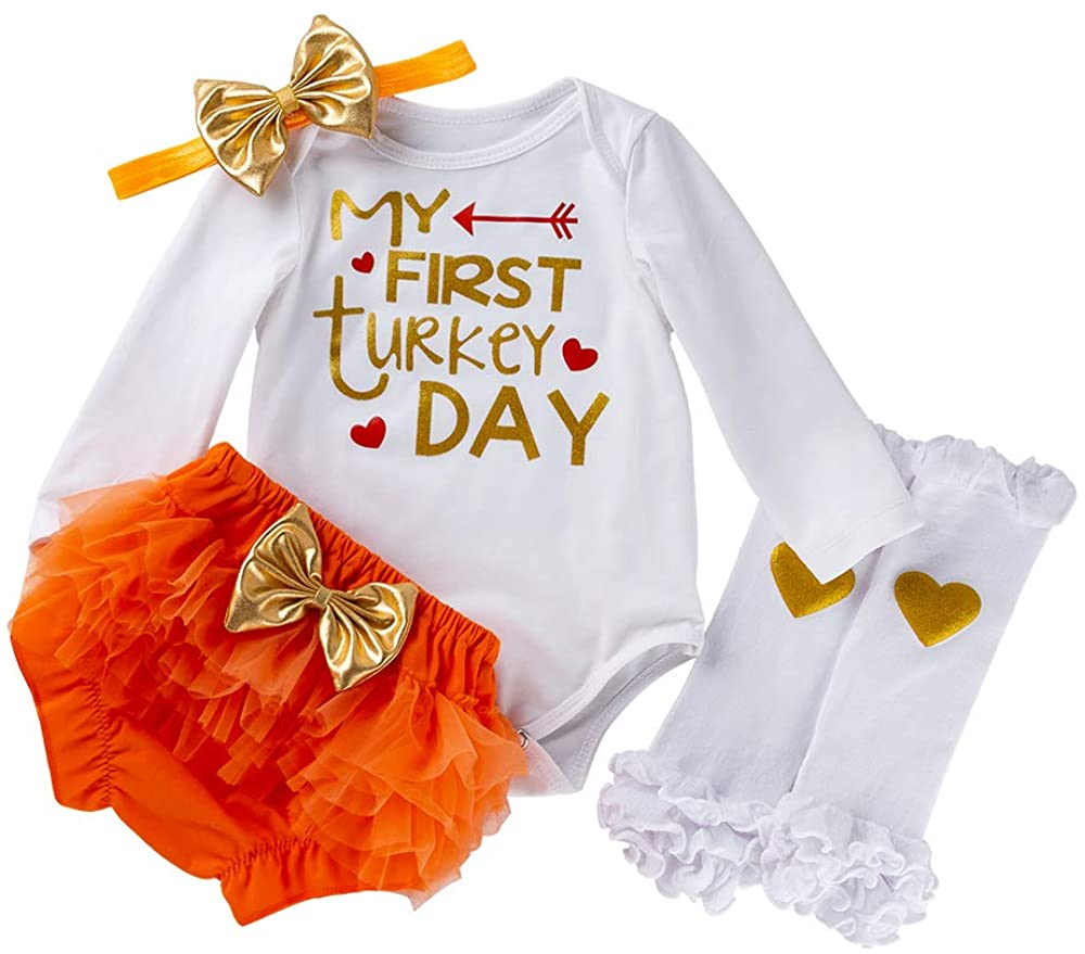 Baby Girl Thanksgiving Outfit Infant Turkey Day Romper Shorts Clothes Set 4PCS