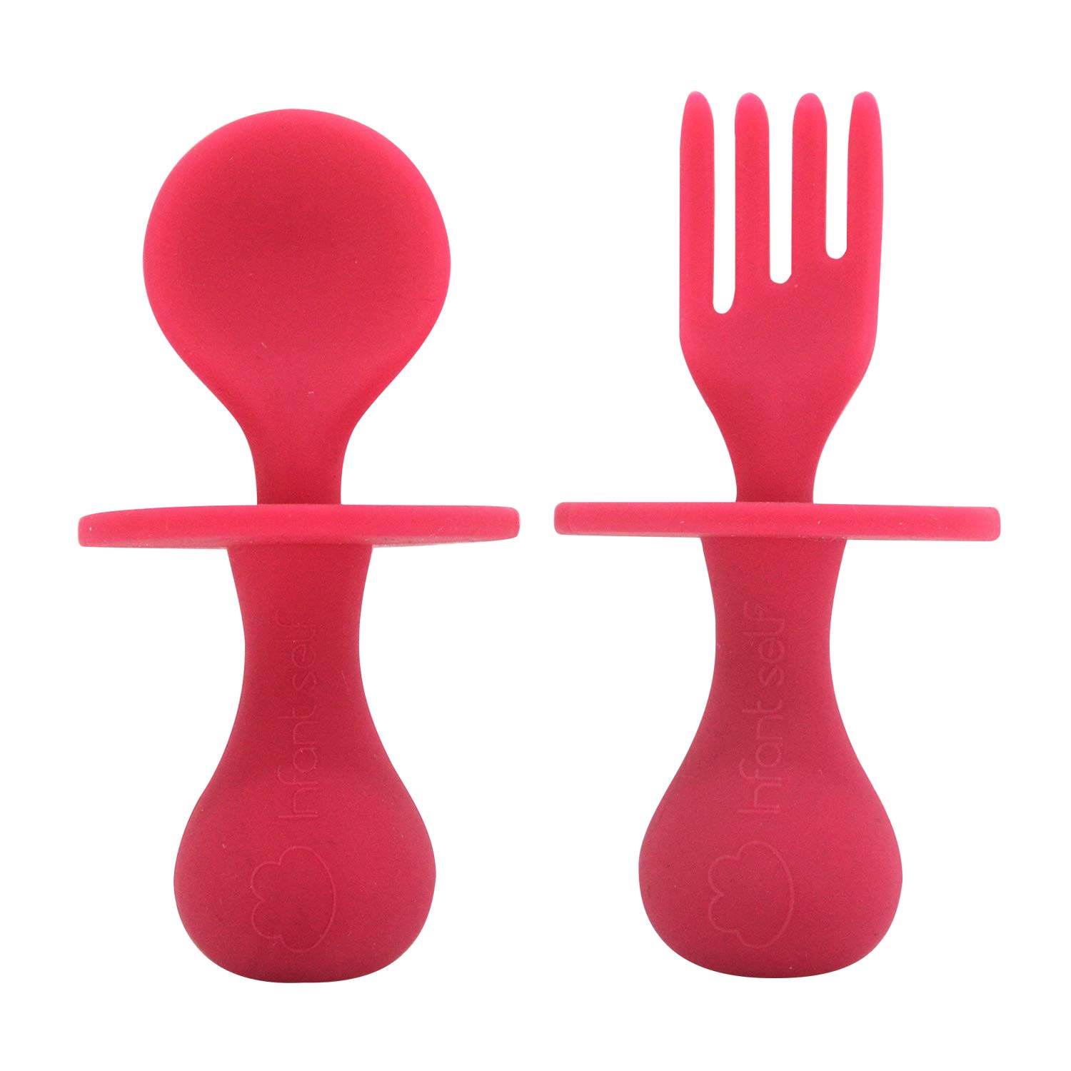Infant self Baby Spoon First Self Feeding Spoon Fork Utensil Set for Baby Led Weaning and Toddlers BPA Free (red)