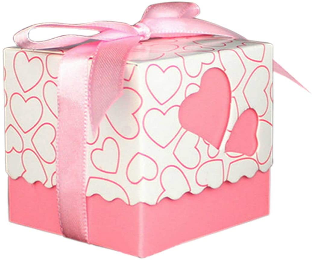 Lontenrea 50 Pcs Candy Boxes Hollow Heart Wedding Birthday Party Favor Gift Box with Ribbons (Pink)