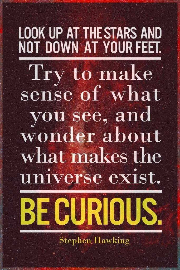 Look Up at The Stars. Be Curious. Stephen Hawking Famous Motivational Inspirational Quote Cool Huge Large Giant Poster Art 36x54