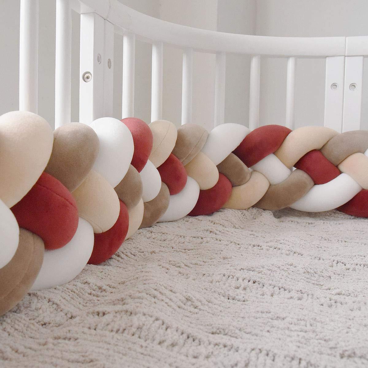 RedSuns Baby Crib Bumper 4 Braided cot Gift Pillow Cushion Nursery Cradle Decor Gift Pillow Cushion Nursery(7.2 feet 2.2M)