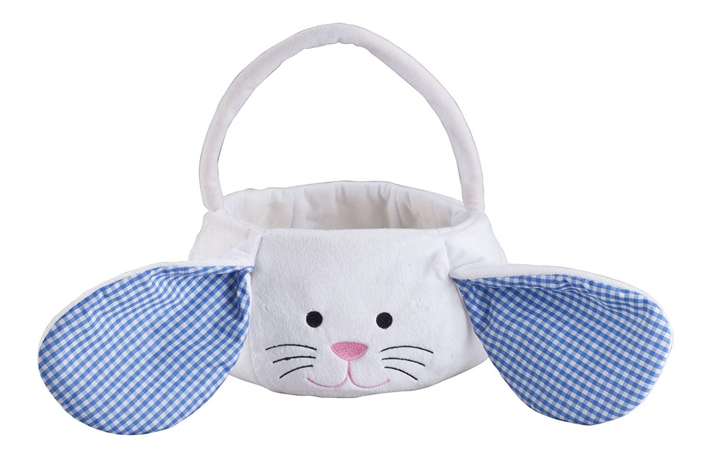 Kids Easter Basket, Plush White Bunny with Floppy Gingham Ears