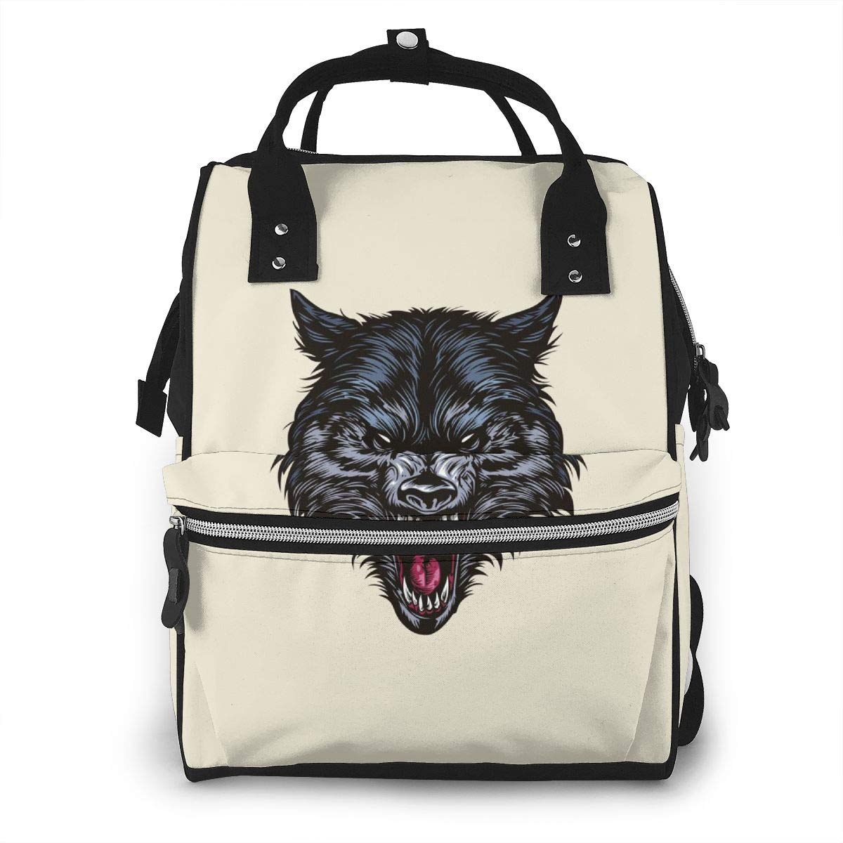 Wolf Head Large Capacity Diaper Nappy Travel Nursing Bag Mummy Mom Backpack Laptop Multi-Function for Baby Care Women Family