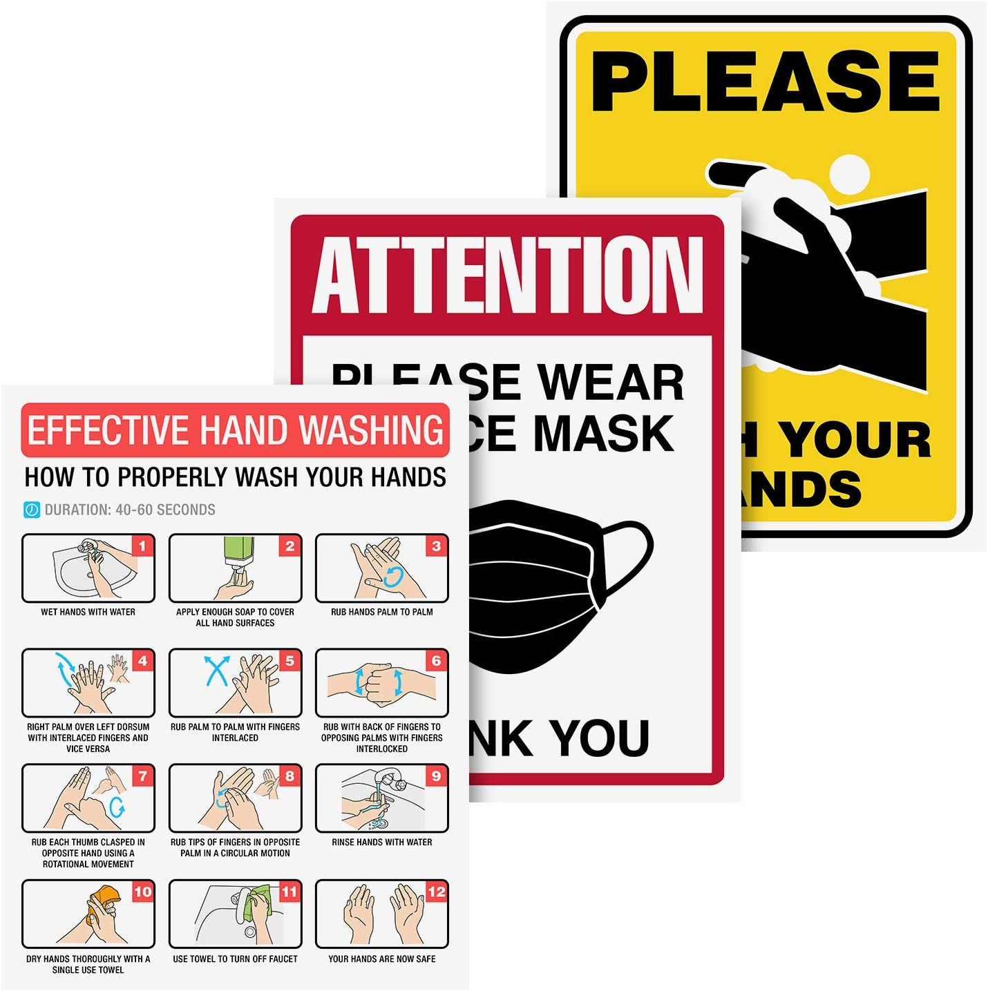 Hand Washing Hygiene Instructions Signs Set, 1 Please Wash Sign, 1 How to Guide, 1 Wear a mask Safety | Great for Schools, Offices, Restaurants, Public Restrooms | Laminated and Tear, Water Resistant