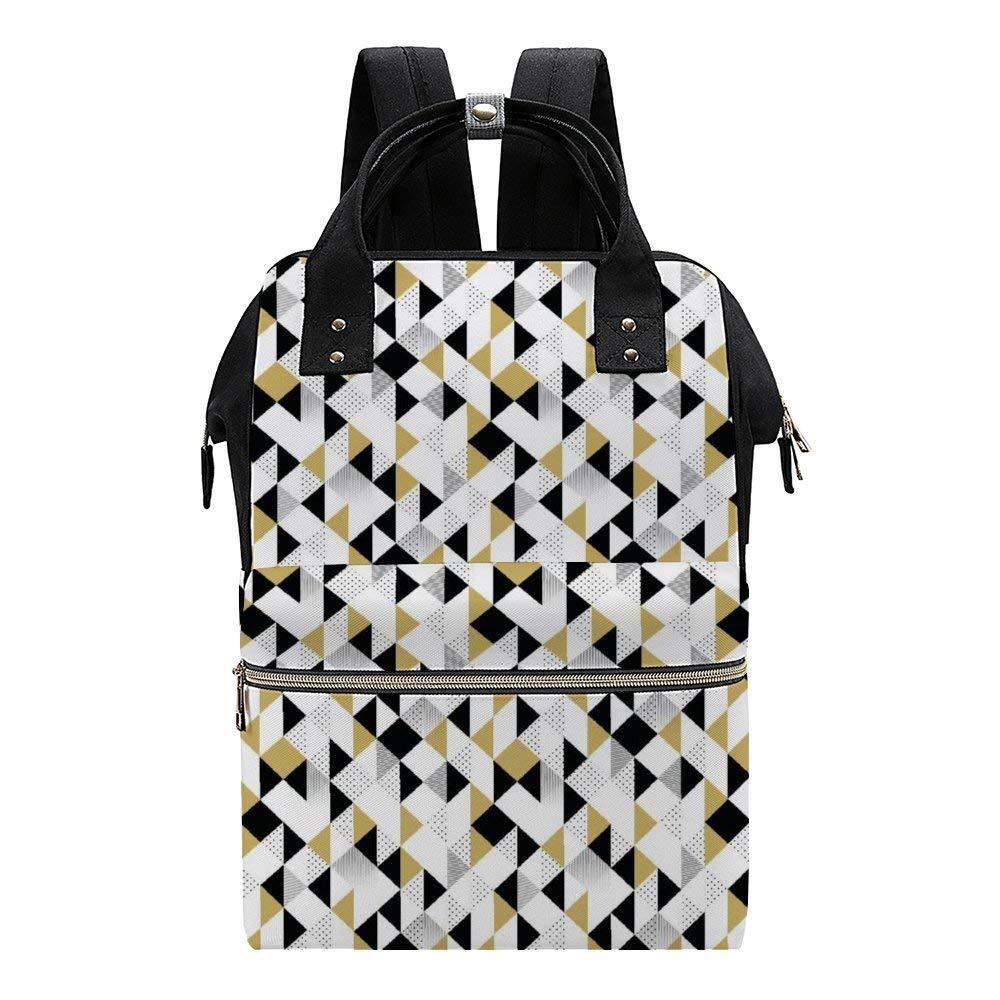 Gold Black White Stripe Diaper Bag Backpack Waterproof Multifunctional Large Travel Nappy Bag