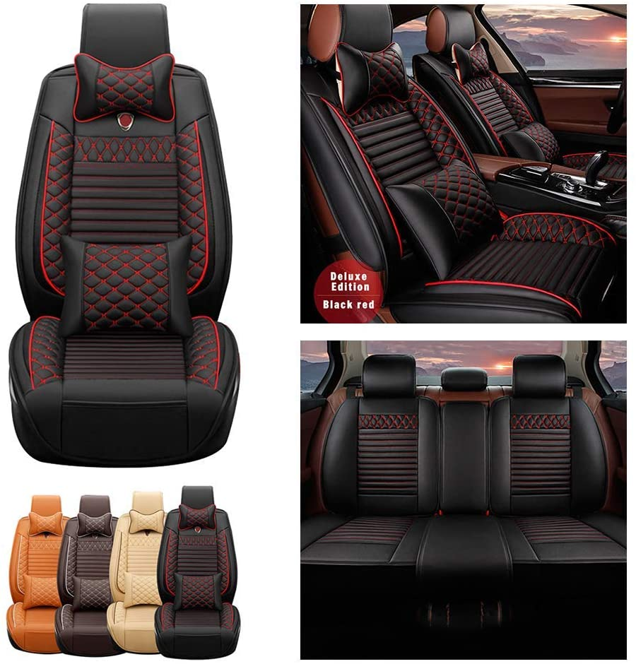Jiahe Car Seat Covers for Subaru Tribeca 5seat Full Set Seat Protector Luxury (with 2 x Headrest & 2 x Waistrest) Artificial Leather Front & Rear Set Universal Black Red