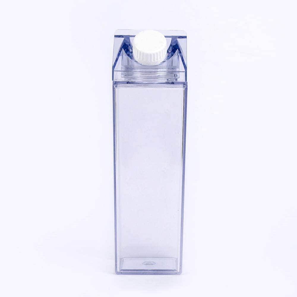 Fomoom Milk Carton Water Bottle, Milk Carton Box Bottle, Plastic Juice Bottle for Outdoor Climbing Travel or Camping, Environmentally Reusable Friendly (Carton-Yellow, 500Ml-17OZ)