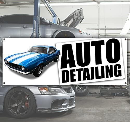 Auto Detailing Camaro 13 oz Heavy Duty Vinyl Banner with Grommets