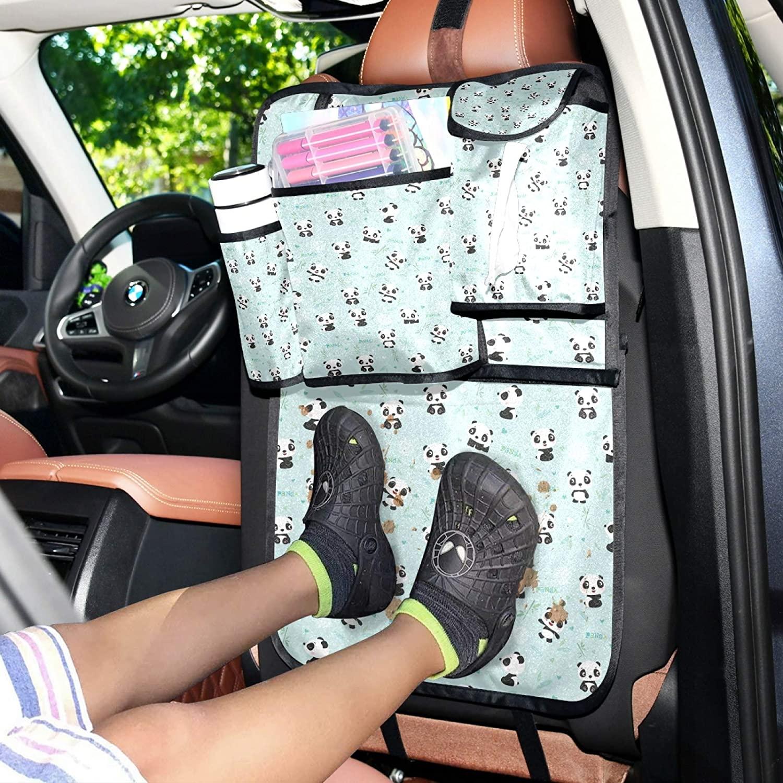 WELLDAY Car Backseat Organizer Cartoon Panda Bamboo Trunk Storage Travel Accessories Pockets Kick Mats Protector for Kids Toddlers 1PCS