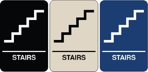 Braille Sign - Stairs, Color=White on Black