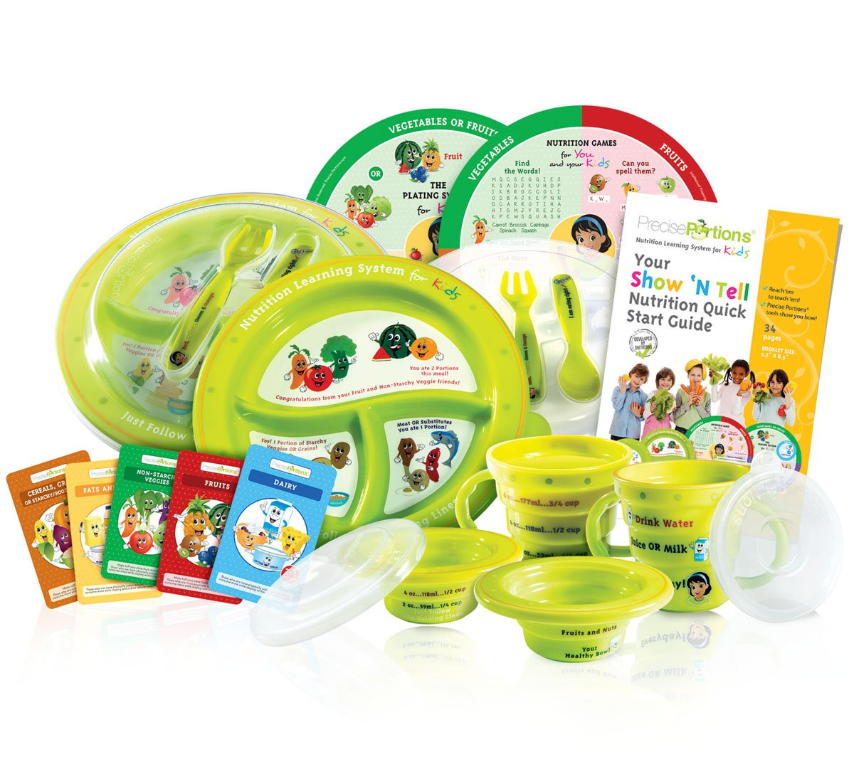 Precise Portions Show 'N Tell Know-It-All Complete Nutrition Pack, Diet Plates Portion Control for Kids- Includes Bowl, Plate, Cup, 2Saucers, 2Nutrition Game Wheels & 52Flash Cards Parent's Guidebook
