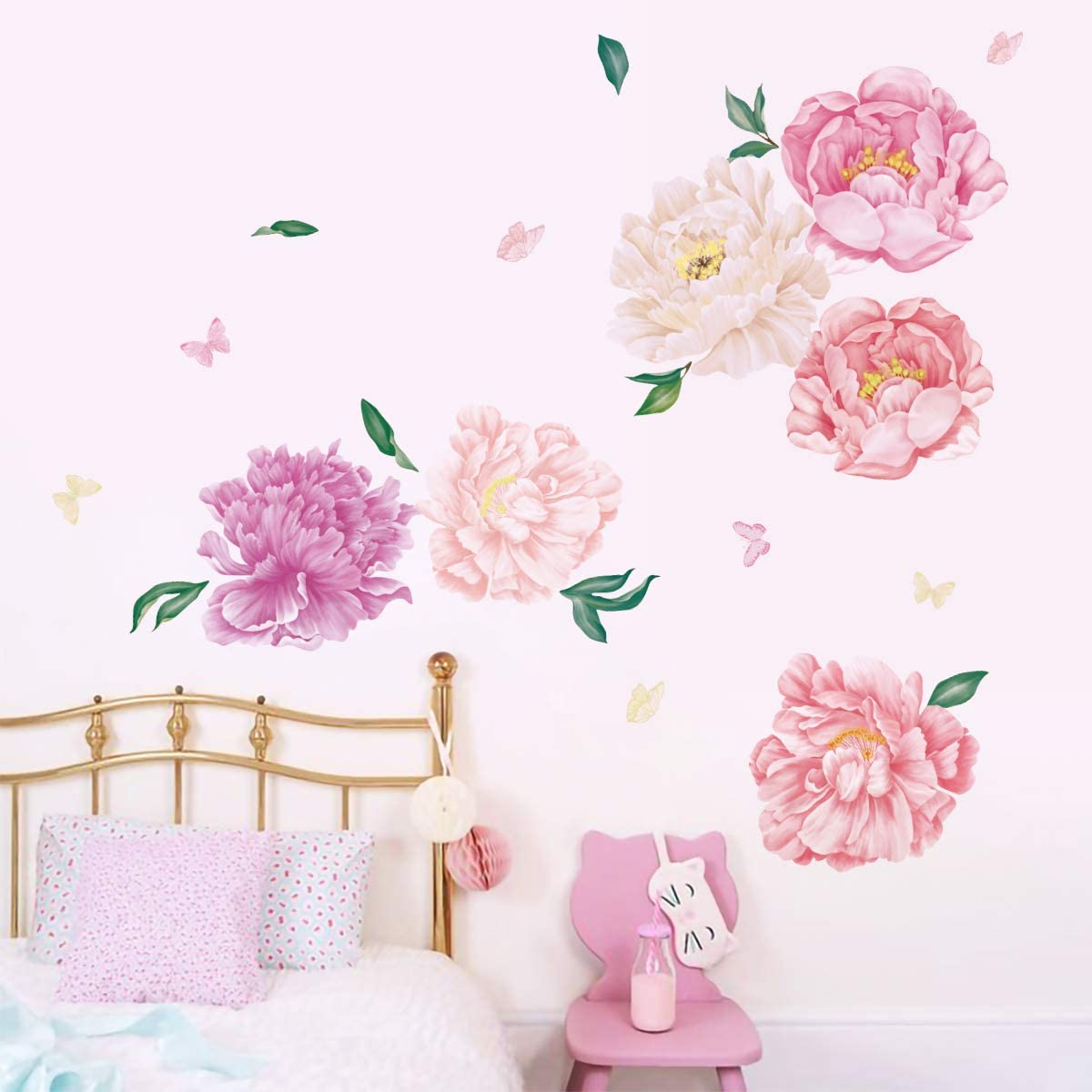 Runtoo Large Flower Wall Decals Peony Rose Floral Butterfly Wall Stickers Living Room Bedroom Baby Nursery Wall Art Décor