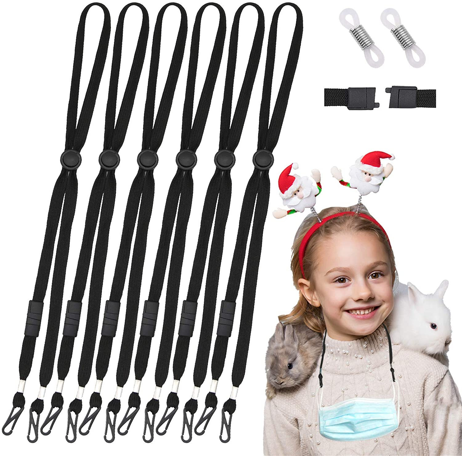 Black Face Mask Lanyards 6 Pack, Adjustable Safety Anti-Lost Mask String, Breakaway Neck Strap Holder with 12 Eyeglass Chain Ends, Comfortable Mask Ear Protector Savers for Women, Men, Kids