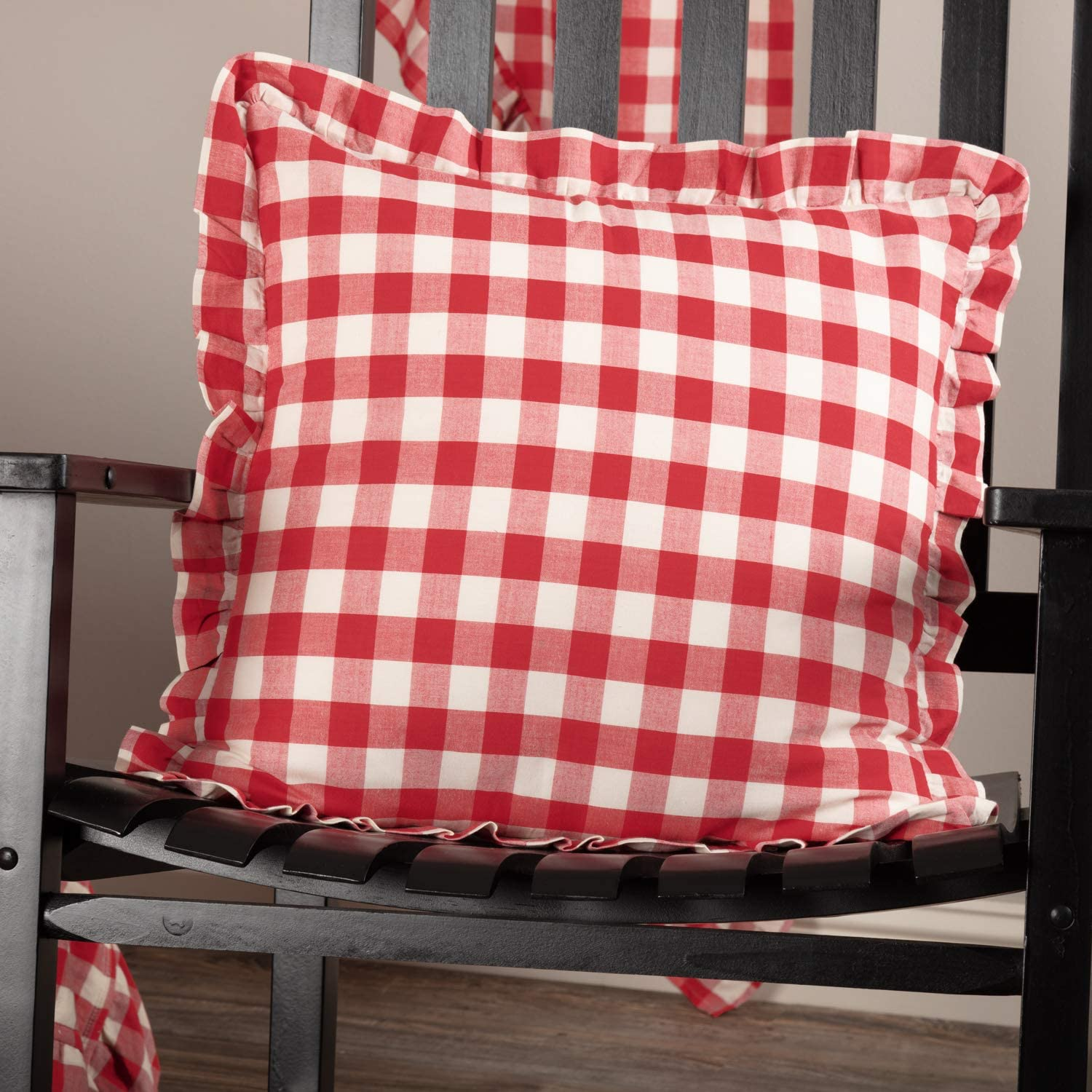 VHC Brands Annie Buffalo Check Bedding Accessory, Pillow 18x18, Red