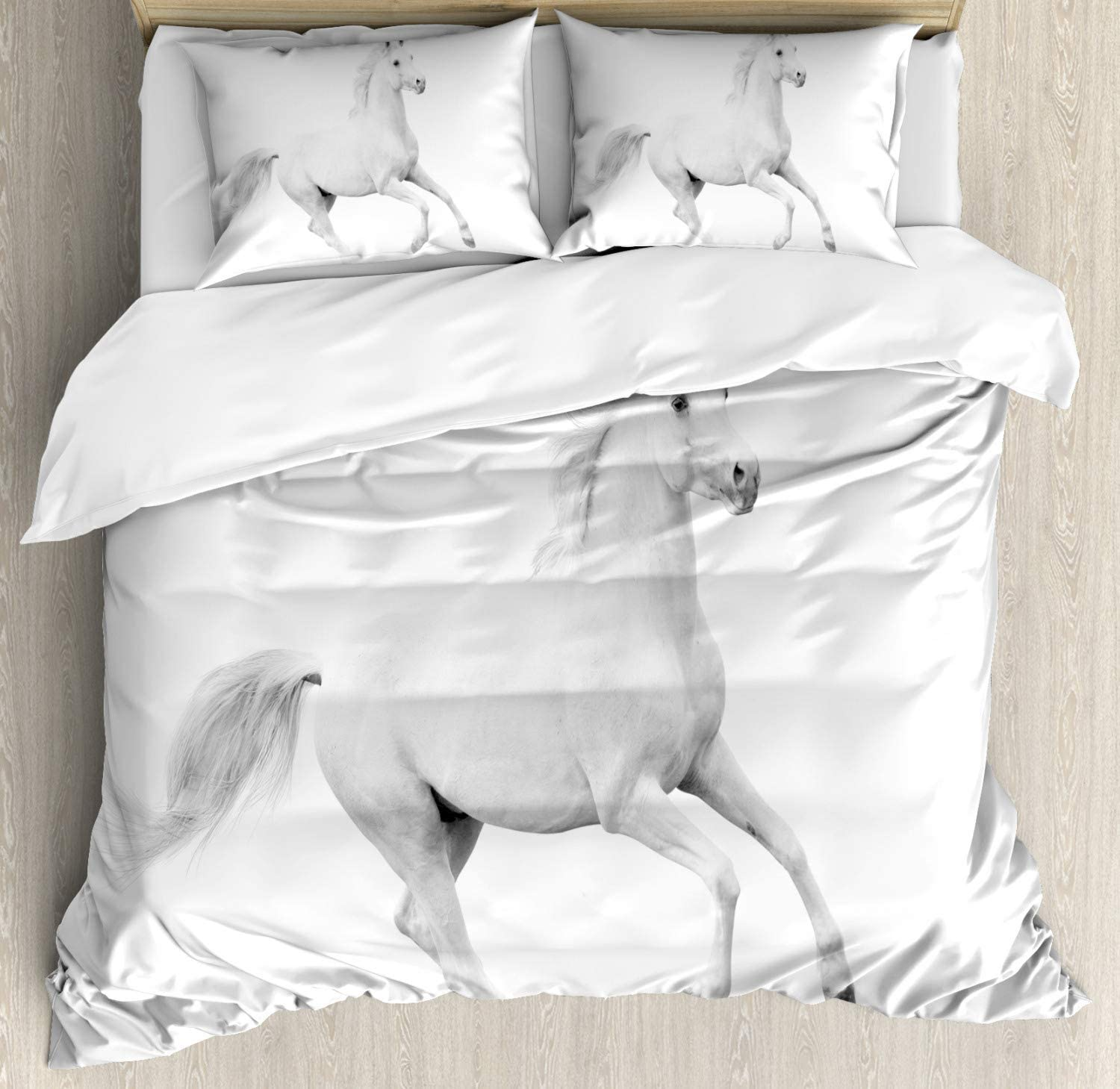 Ambesonne Black and White Duvet Cover Set, White Stallion Running Horse Galloping Motion Speed Print, Decorative 3 Piece Bedding Set with 2 Pillow Shams, King Size, White Black