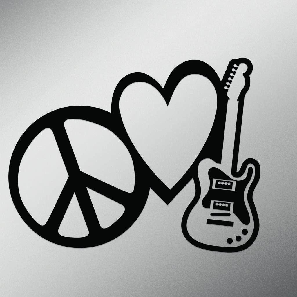 Peace Love Rock and Roll Vinyl Decal Sticker   Cars Trucks Vans Walls Laptops Cups   Black   7 X 5.4 Inch   KCD1615B