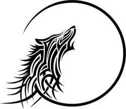 Tribal Wolf Howling at Moon - Pack of 4 - StickerVinyl Waterproof Sticker Decal Car Laptop Wall Window Bumper Sticker