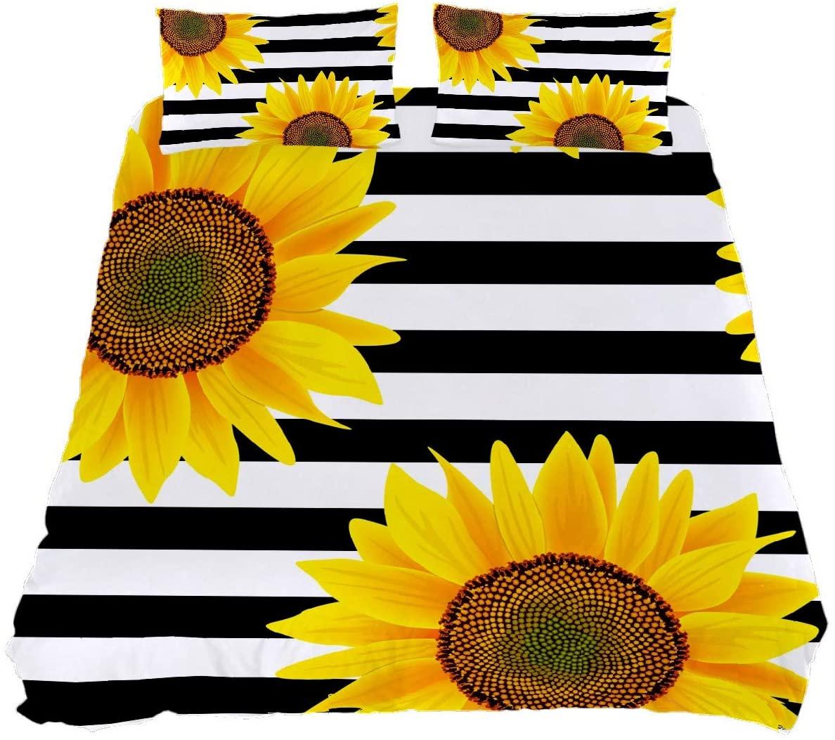 N\O Sunflower Comforter Set 3 Piece Queen Bedding Set Black White Striped Fade Resistant Duvet Cover Set Soft Lightweight Home Decor for Bedroom Girls Boys Kids Room with 2 Pillowcases