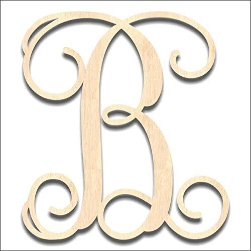 Back40Life - Precision Cut Vine Wood Monogram Letter - 13-inch Unfinished B