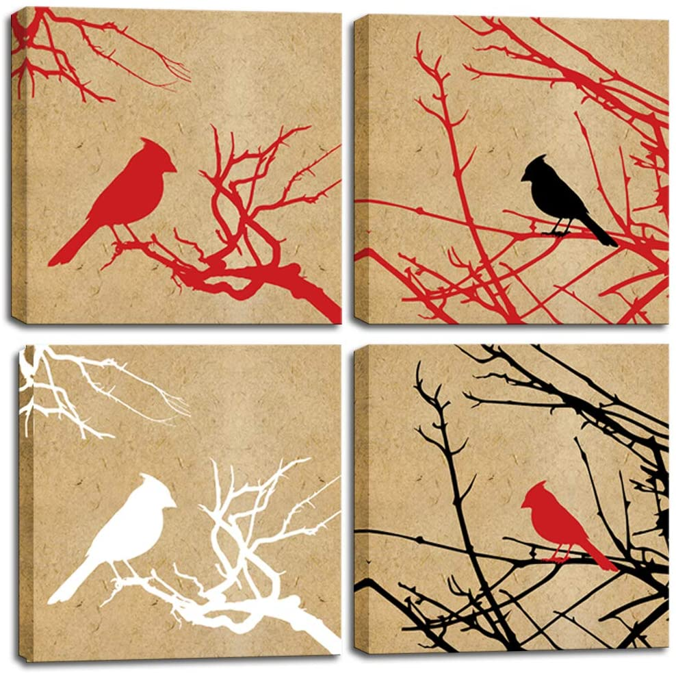 LoveHouse Birds Tree Canvas Wall Art Abstract Cardinals with Tree Silhouette Picture on Brown Paper Background Set of 4 Panel Farmhouse Kitchen Bed Room Decoration Ready to Hang 12