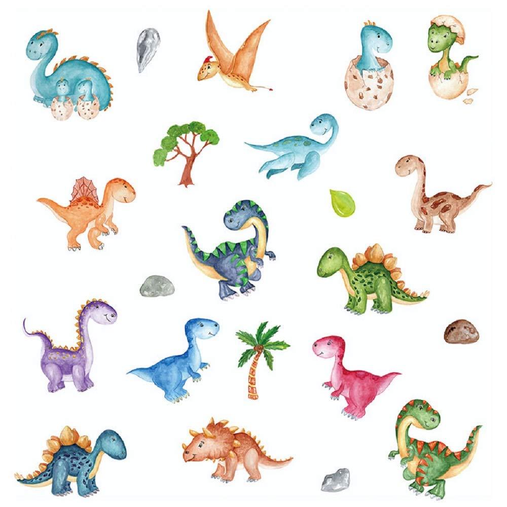 LiveGallery Removable Cartoon Animals Wall Decals DIY Dinosaur and Ocean Fish Wall Sticker Murals Kids Baby Room Bedroom Nursery Classroom Decoration Decor Peel and Stick Art Decor (Dinosaur)