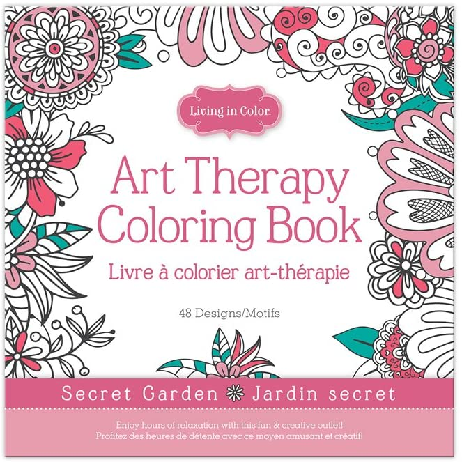 Living In Color  Art Therapy Coloring Book 48 Designs 9.8in x 9.8in, a creative outlet for hours of fun and calming mindfulness, Secret Garden