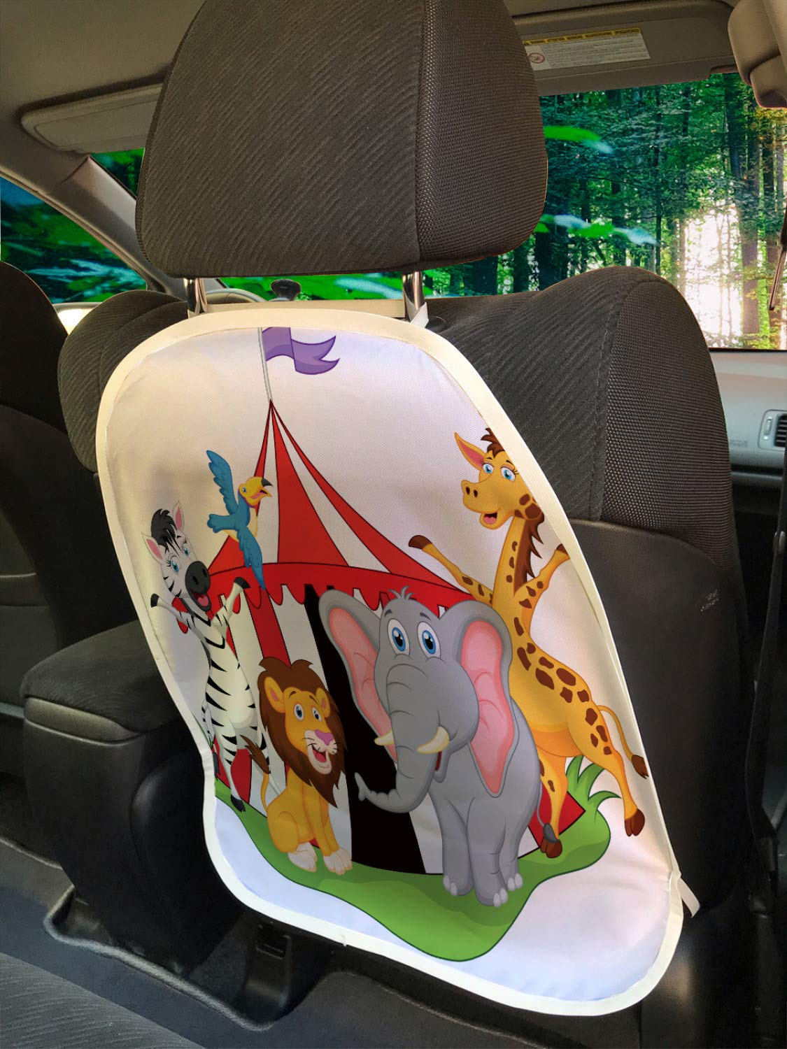 Ambesonne Circus Car Seat Protector Set of 2, Performer Acrobat Animals in Circus Tent Happy Giraffe Elephant Joyful Art, Universal Kick Mat for Dirt Mud & Scratches, 18