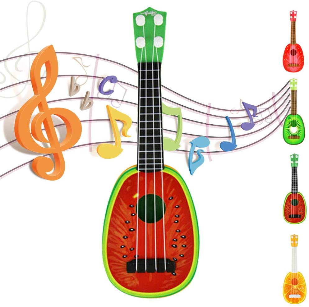 Cute Fruit Ukulele Guitar Toy for Baby Child Gift Music Dream Instrument with Gift Box (Watermelon)