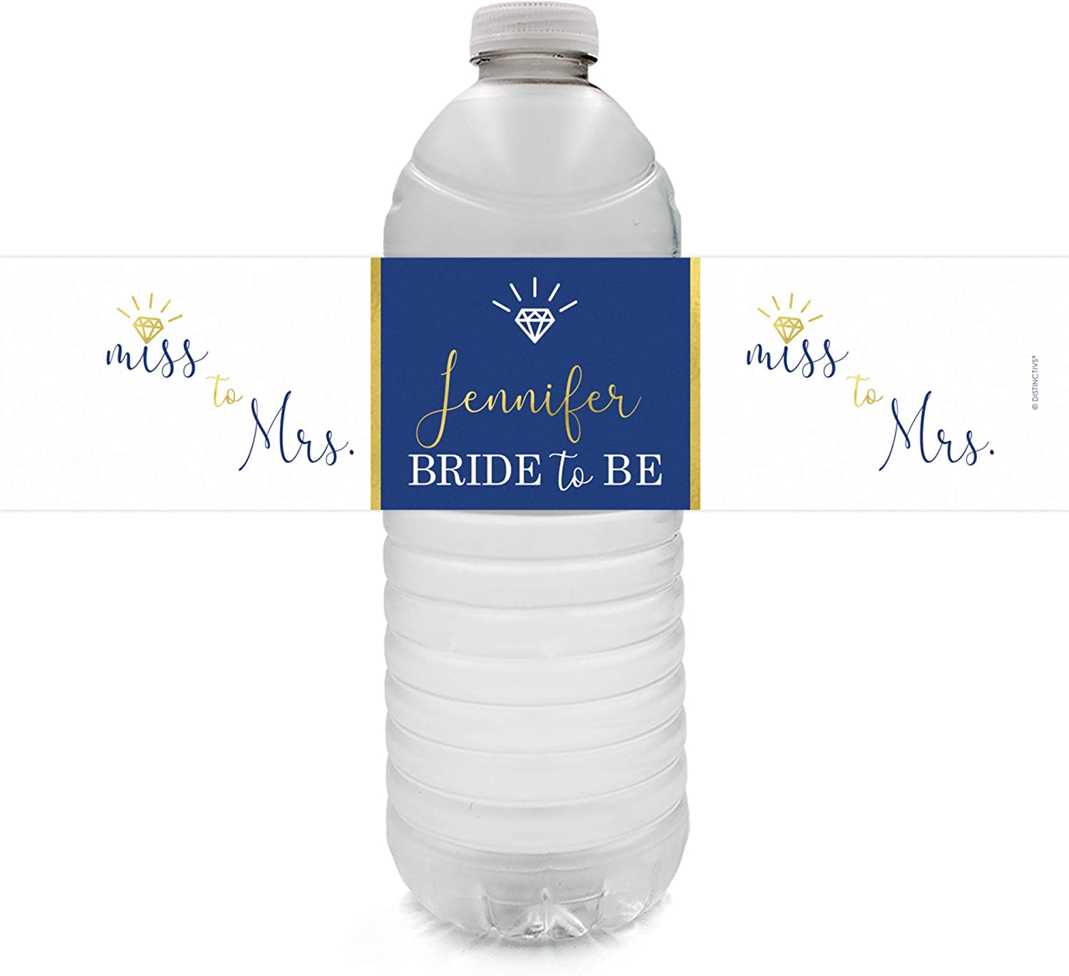 Personalized Bridal Shower Water Bottle Labels - 12 Stickers (Blue)