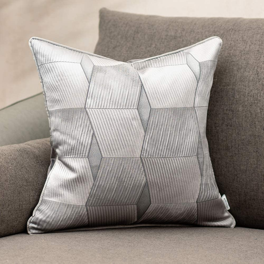 Yangest 20 x 20 Inch Rustic Seashell Textured Satin Square Throw Pillow Cover Plaid Striped Cushion Case Luxury Modern Decorative Wave Pillowcase for Couch Sofa Living Room Bedroom Car, Navy Blue