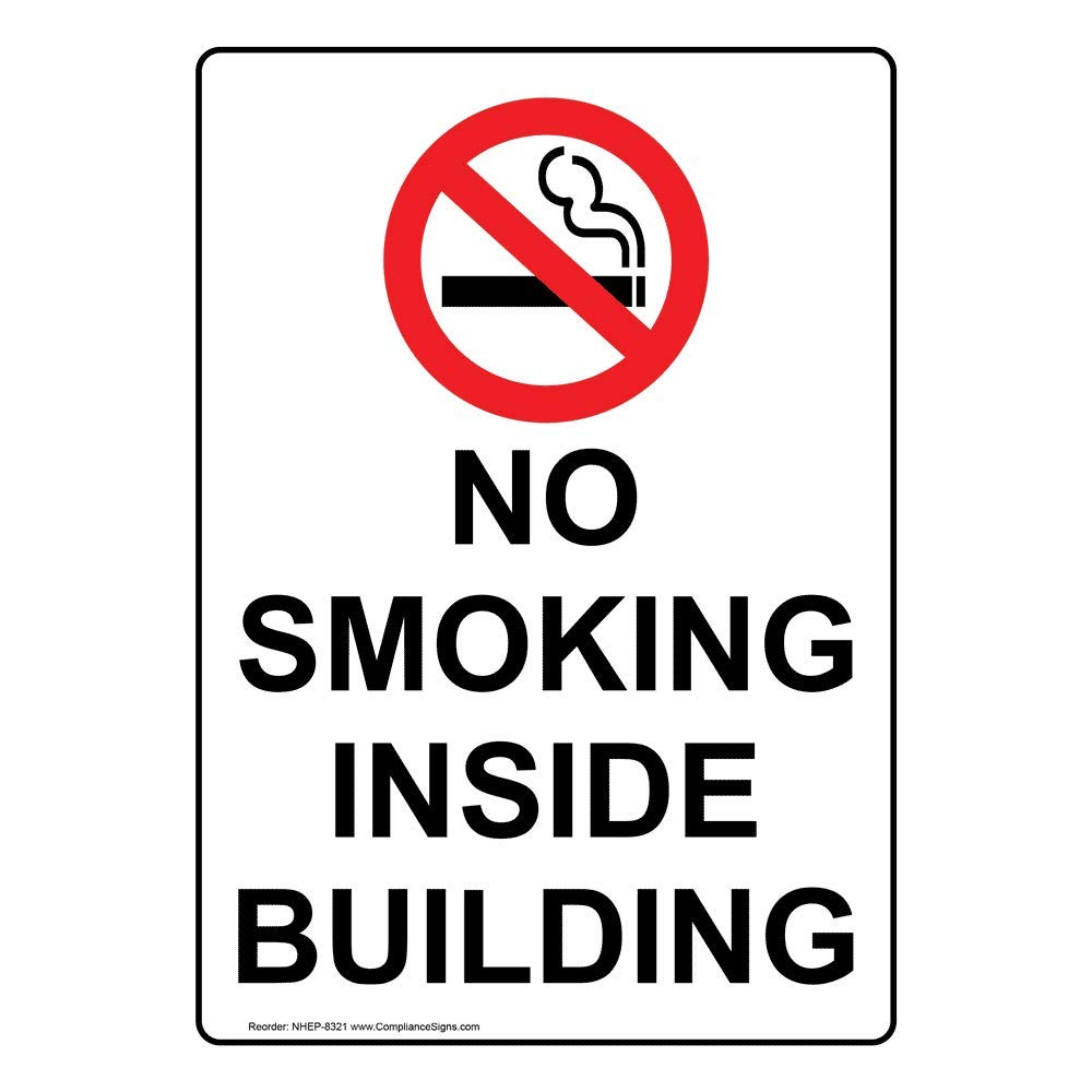 Vertical No Smoking Inside Building Label Decal, 5x3.5 inch 4-Pack Vinyl for No Smoking by ComplianceSigns
