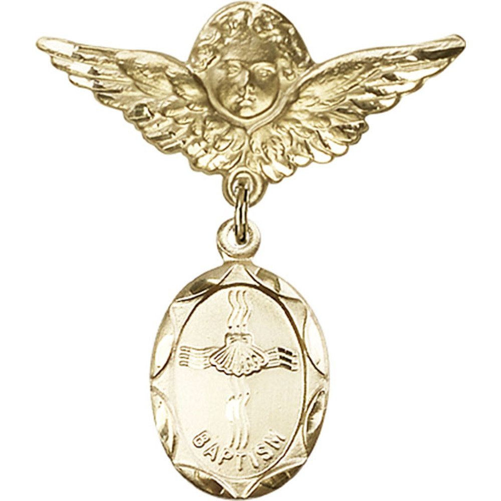 Gold Filled Baby Badge with Baptism Charm and Angel / Wings Pin