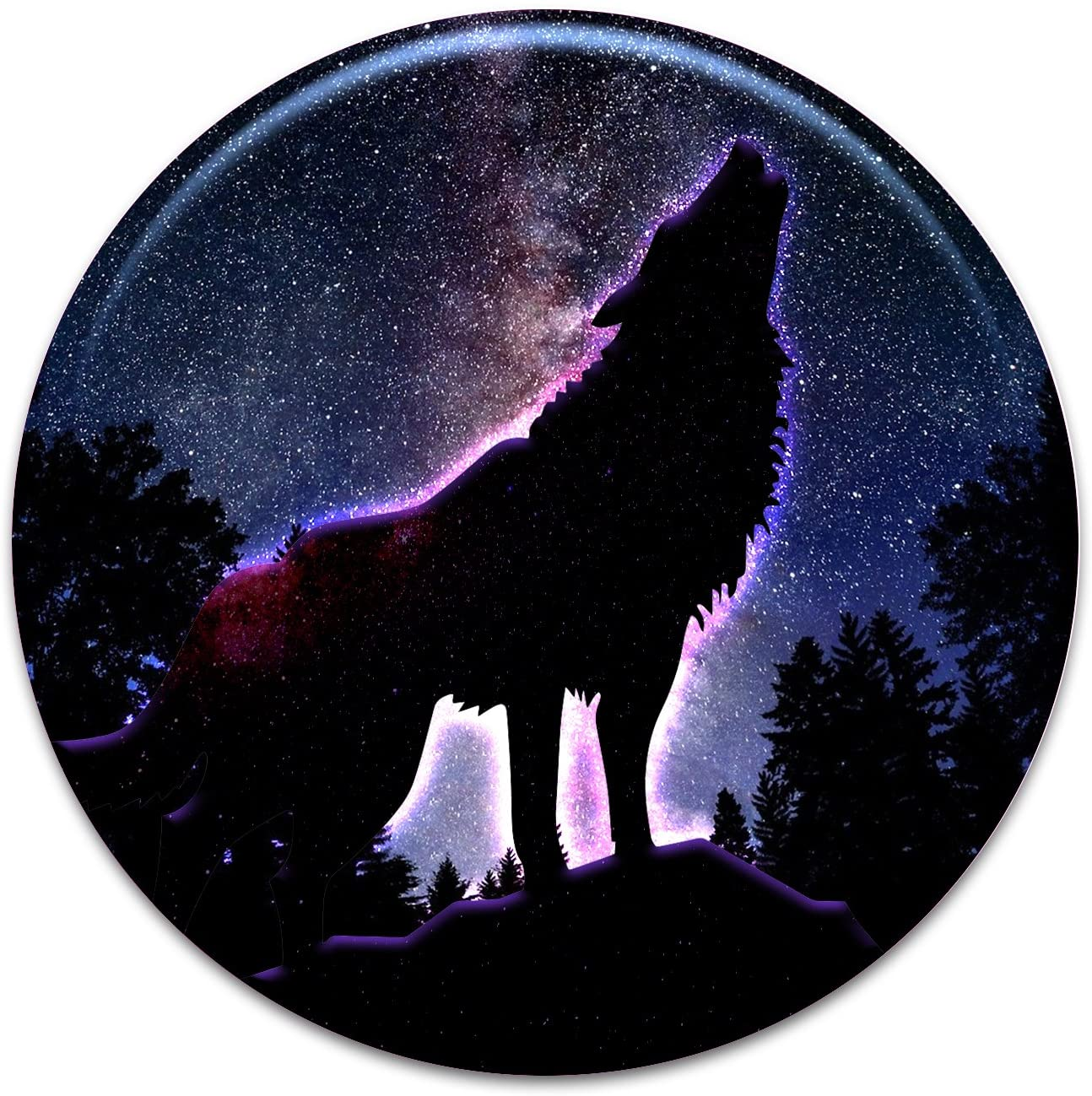 2X Sticker Set - Howling Wolf Night Sky - for Phone Grip Stent Cell Phones Tablets (Stickers Only)