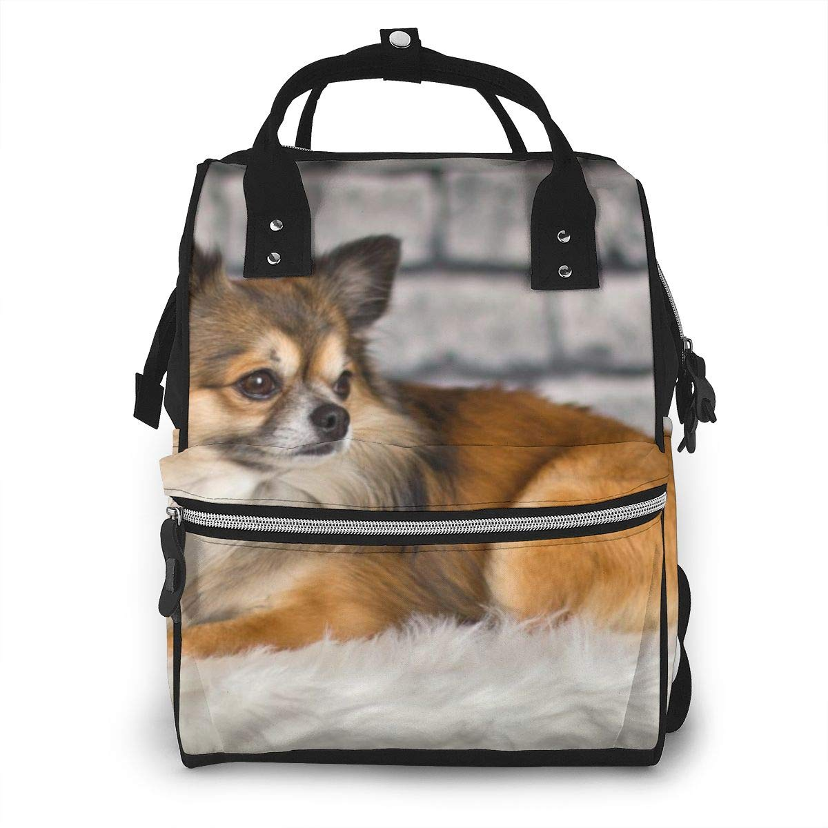 Small Cute Chihuahua Dog Large Capacity Diaper Nappy Travel Nursing Bag Mummy Mom Backpack Laptop Multi-Function for Baby Care Women Family