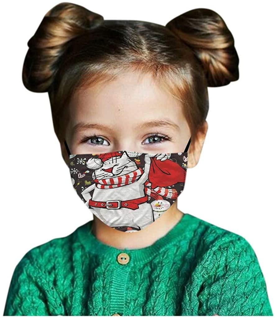 AFEIDD 1/5 Kids Face Bandanas Christmas Print Washable Reusable Breathable Seamless Facewear for Children