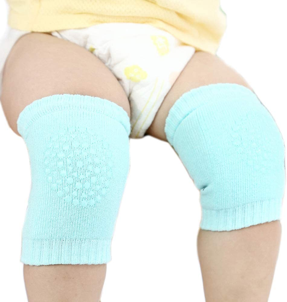 CHoppyWAVE 1 Pair Unisex Baby Basic Socks, Infant Baby Toddlers Safety Crawling Walking Knee Protection Pads Sleeve Light Green