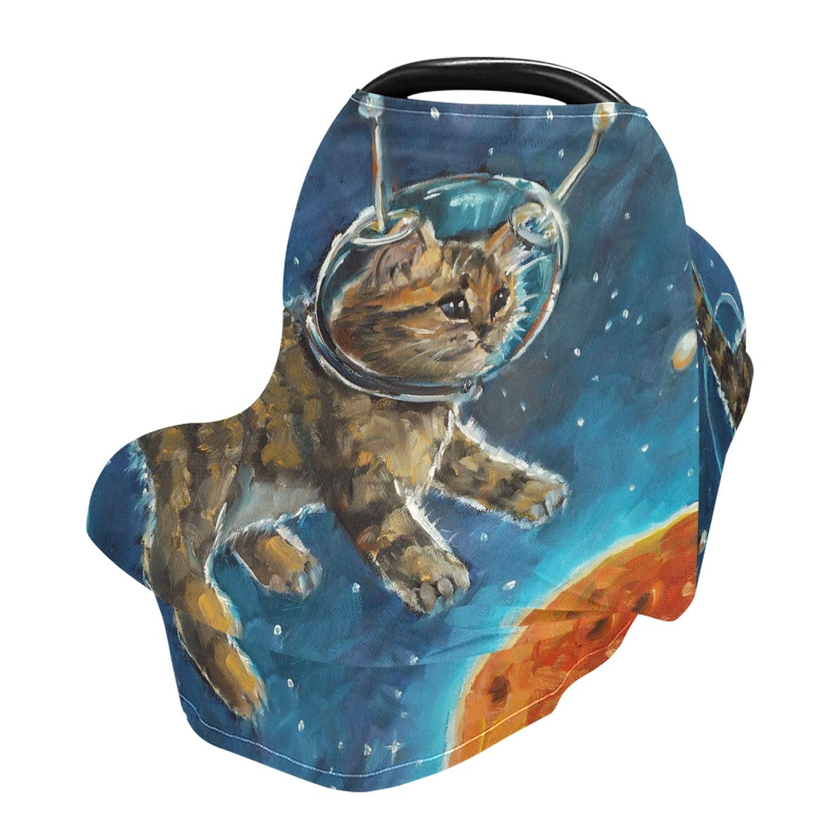 Nursing Cover Breastfeeding Soft Carseat Canopy Astronauts Cat Multi Use for Baby Car Seat Covers Canopy Shopping Cart Cover Scarf Light Blanket Stroller Cover